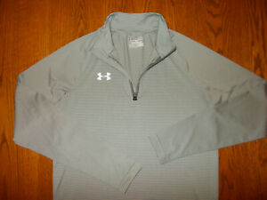 UNDER ARMOUR 1/4 ZIP LONG SLEEVE GRAY STRIPED SHIRT MENS SMALL EXCELLENT COND