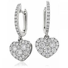 Diamond Heart Drop Earrings 0.90ct F VS in 18ct White Gold for Pierced Ears