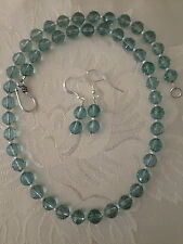 Blue Topaz multifaceted gemstone beads freshwater pearl sterling jewelry set