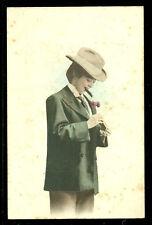 Travesti Woman dressed as Man smoking Cigar Japan ca 1905