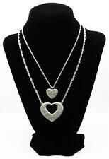 2 Necklaces Forever Hearts MOTHER DAUGHTER Pendants Satin Silver Finish NIB