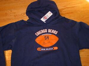Mens M Chicago Bears Football Brian Urlacher Hooded Sweatshirt Hoodie Blue