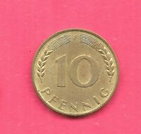 GERMANY GERMAN KM103 1949-F XF-SUPER NICE OLD 10 PFENNIG  COIN FREE US SHIPPING