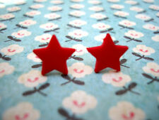 FUNKY RED MINI STAR EARRINGS CUTE KITSCH RETRO EMO PUNK ROCK FUN COOL NOVELTY