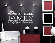 Custom Family where life begins Love never ends Wall Decal Sticker Removable