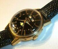 Zodiac Automatic Swiss 1960s? Moon Phase Triple Calendar Men's Watch Gold Plated
