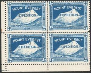 NEPAL/TIBET: 1924 Mount Everest Blue Expedition Label U/M Block of 4 (38657)