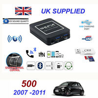 For Fiat 500 Bluetooth Telephone Streaming AUX Input 2 x USB SD Card Reader