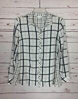 J.Jill Women's Medium Petite PM White Black Plaid Rayon Button Top Shirt Blouse