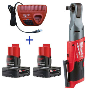 """Milwaukee 2558-20 M12 Fuel 1/2"""" Ratchet 48-11-2412 12V Battery 48-59-2401 Charge"""