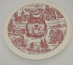 "VERNON KILNS RED TRANSFERWARE ALASKA 10 1/2"" COLLECTOR PLATE HUSKY"