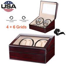 Winder Wood Storage Display Case Box Automatic Rotation 4+6 Grid Slots Watch