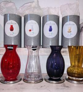 "NEW Dartington Crystal Little Gems Handmade Glass Vase 7"" Clear Red Purple Amber"