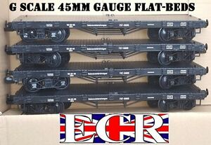 4 X G SCALE FLATBED TO BUILD ON. RAILWAY TRUCK GARDEN TRAIN FLAT BED