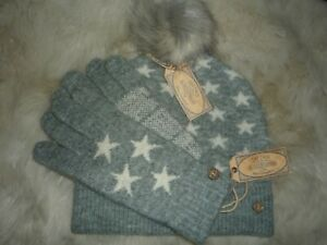 Fat Face Mini Star Pom Beanie Hat & Glove SET BNWT Grey