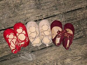 OLD NAVY Burgundy Camel Red 3 Pair Set Lot Ballet Flats Baby 12 18 M Shoes 👣b14