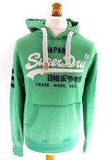 SUPERDRY Mens Hoodie Jumper S Small Green Cotton & Polyester