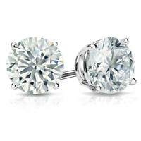 6mm (2 ct.)  White Sapphire Round Stud Earrings in14k White Gold/Sterling Silver