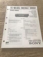 Sony Service Manual TC WE405/WR350Z/WR661 Cassette Deck (#2501)