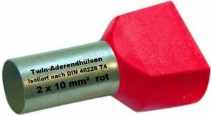 Twin Wire Ferrules 2 X 10 MM ² Red Wire End Ferrules Double Tinned