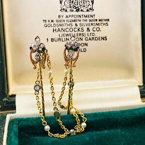 Antique 18ct, 18k, 750 Gold Diamond & Pearl,Fleur des Lys,stick,cloak,cravat pin