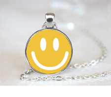 Smiley Face PENDANT NECKLACE Chain Glass Tibet Silver Jewellery