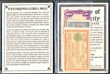 Five WWII Philippine Guerrilla Printed Banknotes with Album, Story & Certificate