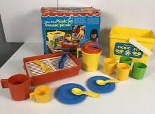 Vintage Fisher Price 1985 Picnic Set #2002 Dishes Grill Basket Incomplete