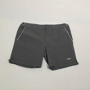 """Parke & Ronen Men's Gray Lined 14"""" Length Swim Trunks Size 31"""