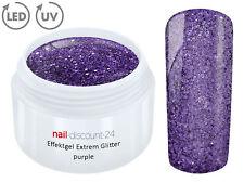 UV LED Gel EXTREM GLITTER Effektgel PURPLE Glitzer Color Farb NailModellage Lila
