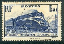 TIMBRE FRANCE OBLITERE N° 340 PACIFIC CARENEE / TRAIN / CHEMIN DE FER LOCOMOTIVE