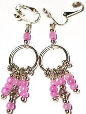 Pink Earrings Chandelier Hoop Silver Clip-on Glass Bead Long Drop Dangle Clips