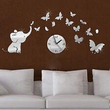 3D DIY Acrylic Elephants Butterflies Mirror Wall Clock Decal Sticker Art Decor