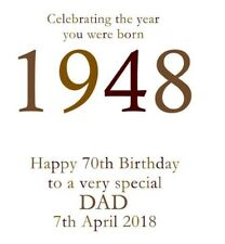 70th 1948 Year You Were Born Birthday Card Personalised Dad Gramp Uncle Brother