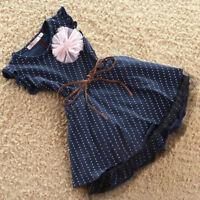 Summer Toddler Baby Girl Dress Sleeveless Dot Party Wedding Tutu Cotton D AMF