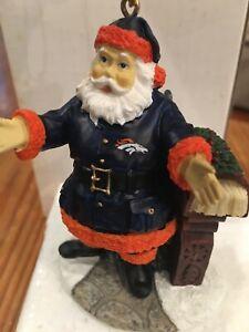 "DENVER BRONCOS 3"" Ornament/Figurine WELCOME Home Santa By The Memory Co New NFL"