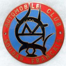 Plaque émaillée de calandre Automobile Club Soudan Français Afrique circa 1940