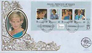 BERMUDA 1998 PRINCESS DIANA IN MEMORIAM M/SHEET BENHAM LE FIRST DAY COVER