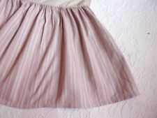 Taupey Tan and Pink Ticking Striped Gathered King Bed Skirt