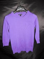 J Crew S Dark Purple Merino Wool Sweater 3/4 Sleeve Thin Knit Shirt Small sm
