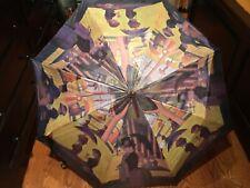Beautiful Vintage Victorian Scene Parasol Umbrella With Wood Handle