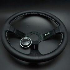 14'' Leather Steering Wheel Mid Deep Dish OMP Racing Drifting White Stitch Grade