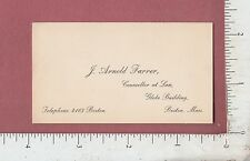 8899 J. Arnold Farrer counselor at law 1895 business card Globe Building Boston