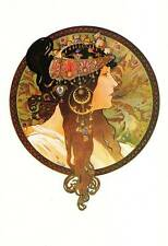 "Mucha 1976 Authentic Vintage Art Nouveau Print ""TETE bizantina-Bruna"""