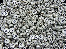 100 Pcs - 7mm Silver Acrylic Coloured Alphabet Round Letter Beads Jewellery H114
