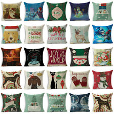 Christmas Cotten Linen Throw Pillow Case Santa Claus Cushion Cover Home Decor