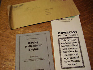 1943 MAYTAG COMPANY WARRANTY & OPERATING INSTRUCTION MANUAL, ORG. UNIQUE, NO RES