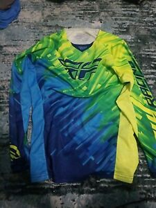FLY RACING KINETIC GLITCH MOTO SHIRT VENTED GREEN/BLUE SIZE YX