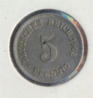 Deutsches Reich Jägernr: 12 1902 F vorzüglich 5 Pfennig Reichsadler (7849276
