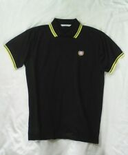 mod/fred perry style polo shirt. black with yellow trim. Size L